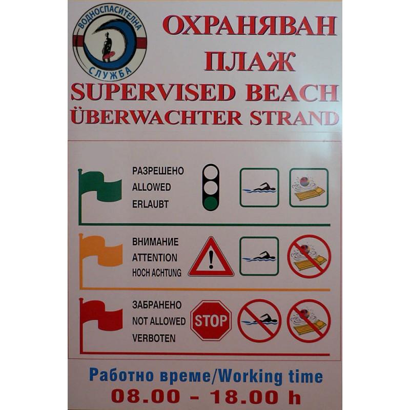 PVC Табела - Спасителен Пост за плаж